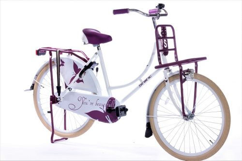 Static omafiets 24 inch wit paars 1