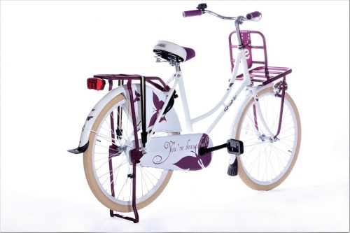 Static omafiets 24 inch wit paars 2