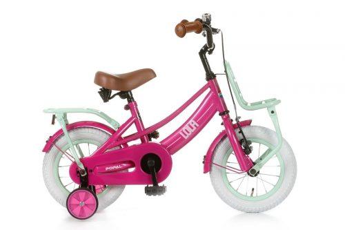 popal lola 12 inch meisjesfiets donker roze