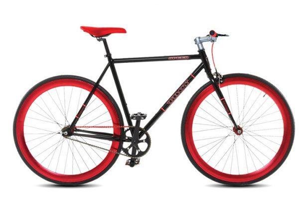 Troy speed fixedgear fiets zwart rood