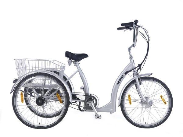 Popal E Luxe Elektrische Driewieler fiets 24 inch zilver
