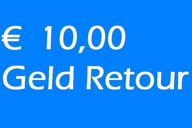 € 10,00 Geld Retour