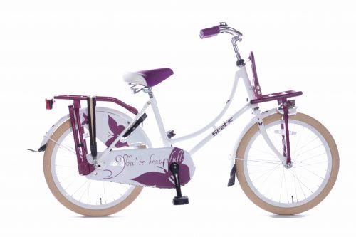 Static Omafiets 20 inch meisjes transportfiets paarswit