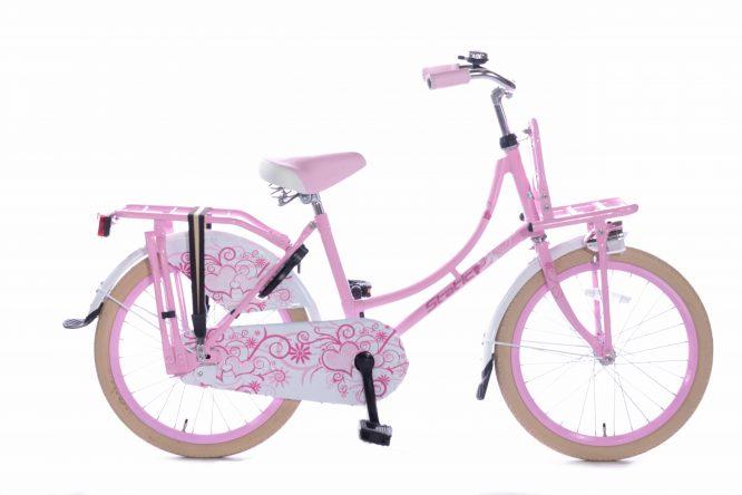 Static Omafiets 20 inch meisjes transportfiets roze