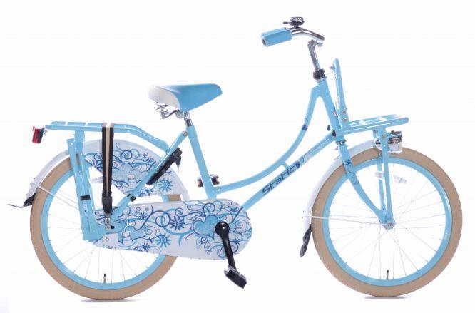Static Omafiets 20 inch meisjes transportfiets blauw