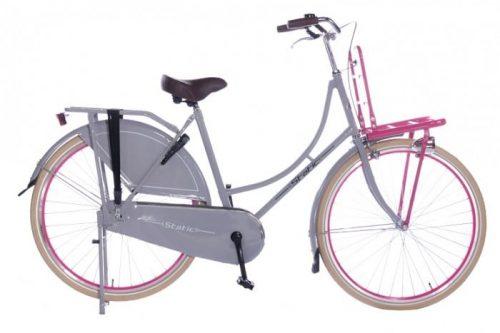 Static Omafiets 28 inch meisjes transportfiets 54cm Grijs Roze