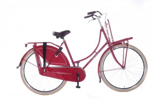 Static omafiets 28 inch + voordrager rood
