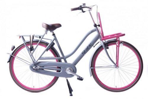 Static Glamour 28 inch dames transportfiets Grijs Roze