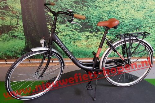 highlander city damesfiets mat zwart