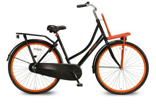 Altec classic dames transportfiets mat zwart oranje