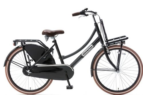 popal daily dutch plus 24 inch meisjes transportfiets zwart (glans)
